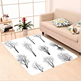 Nalahome Custom carpet partment Decor Spooky Horror Movie Themed Branches Forest Trees Nature Art Print Black and White area rugs for Living Dining Room Bedroom Hallway Office Carpet (5' X 7')