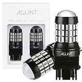 AGLINT 2PCS Car LED Replacement Light Bulb 12V 24V 520 Lumen 3056 3156 3057 3157 4157 P27/7W LED Bulbs with Projector Use for Car Tail Backup Reverse Brake Light-Red
