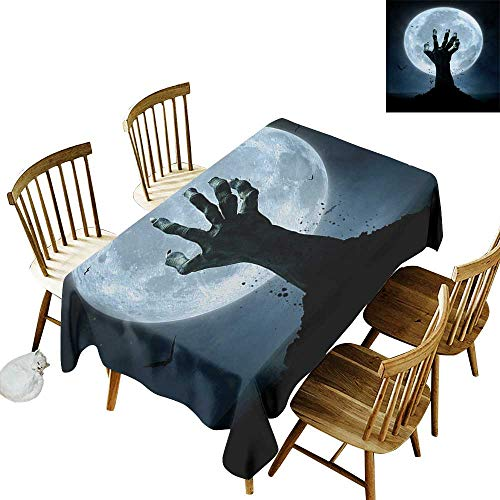 Cranekey Outdoor Tablecloth Rectangle W50 x L80 Halloween Realistic Zombie Earth Soil Full Moon Bat Horror Story October Twilight Themed Blue Black Great for Holiday Dinner More