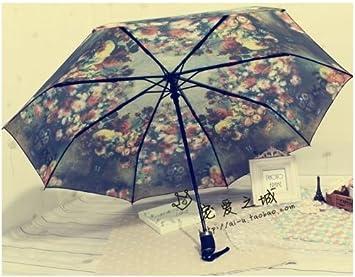 Calidad superior casebomb carga la flor pintura anti UV paraguas automático paraguas lluvia paraguas hombres mujeres