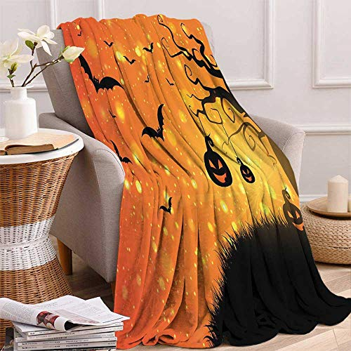 maisi Halloween Digital Printing Blanket Magical Fantastic Evil Night Icons Swirled Branches Haunted Forest Hill Summer Quilt Comforter 62