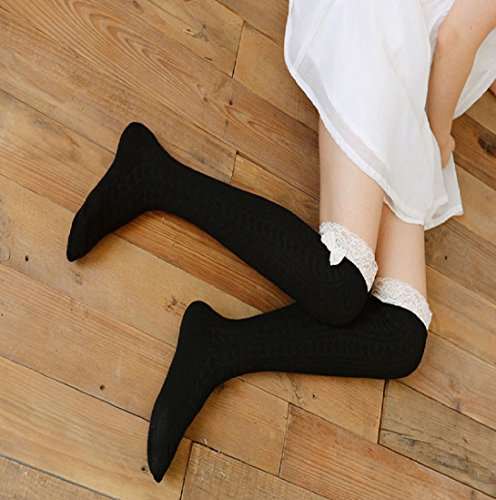 Knitting Lace Boot HP95 Women Crochet Leg Thick Black Sock Sock TM Warmers Knee Over qwCFfT
