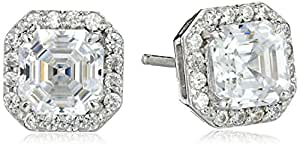Myia Passiello Timeless Platinum-Plated Sterling Silver and Swarovski Zirconia Asscher-Cut Halo Earrings