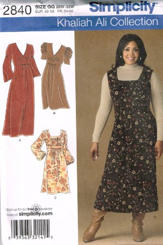 Simplicity Sewing Pattern 2840 in Size 26W,28W,30W,32W. Dresses in 23 Styles + Jumper. Career to Casual. Ali - Style Careers
