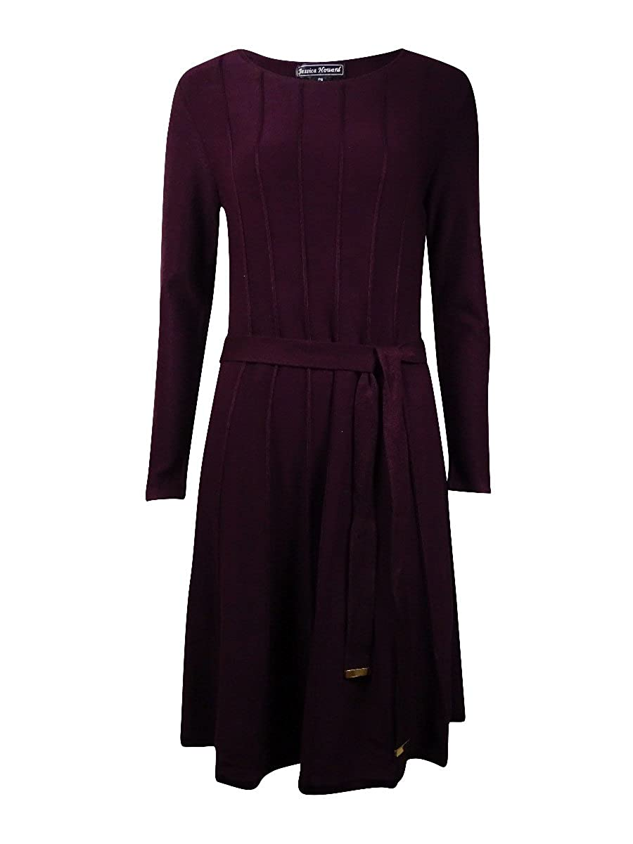 Jessica Howard Women's Pintucked Belted Sweater Dress Aubergine) JH5P9115