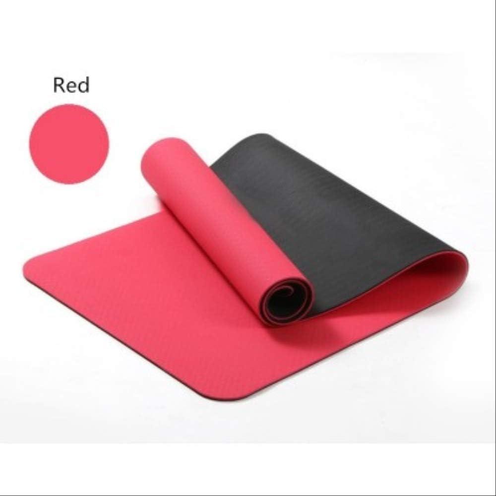 Splaa Colchoneta de Yoga 6 mm TPE Colchoneta de Yoga Alfombra de Yoga Antideslizante Colchoneta de Gimnasia Bolsa de Yoga Gimnasia Relleno Rojo
