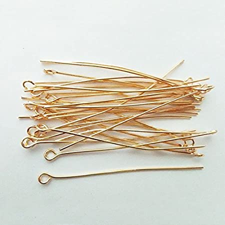 200 PCS Eye Pin Jewelry Making Needles Earrings Beading Clasps Findings Bracelets Necklaces Beads Connector Accessories Materials Bronze, 60mm Eye Pin