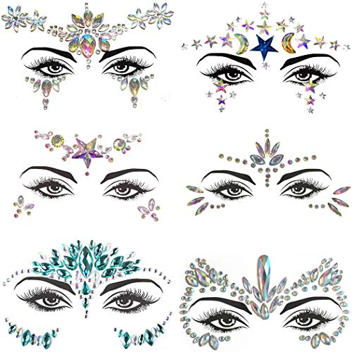 Mermaid Face Jewels Rhinestones Gems Glitter Body Jewels Self-adhesive 3D Face Tattoo Festival Makeup Crystals Eye Face Temporary Tattoo Stickers Rave Dancer Women Christmas Gift(6 Sets)