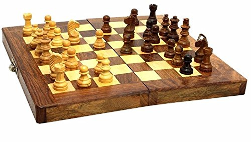 Authentic Wooden Folding Board & Pieces Chess Set, Israel Hand Carved Toy Gift