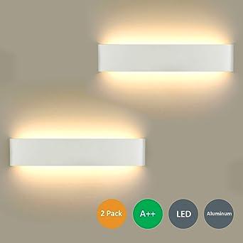 Lámpara de Pared LED 2 unidades, 16 W Lámpara de Pared Moderna Para Interior Para Lámpara de Baño, Salón, Dormitorio, Escalera, Pasillo, Iluminación de Pared, Blanco Cálido 3000K: Amazon.es: Iluminación