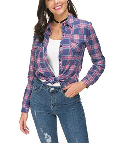 Button Up Long Sleeve Blouse - NUOREEL Womens Casual Plaid Soft Button Up Tops 3/4 Long Sleeve Cuffed Blouse Shirts (Medium Multicolour)