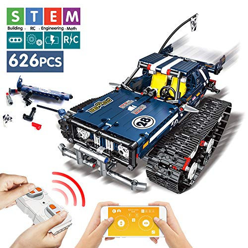 DAYE Remote Control Building Blocks Car Set RC Tracked Racer Building Blocks Kits High Speed Cars, Learning, STEM Toys for Kids Age 6, 8, 9, 12 and 14 Year Old Best Educational Building Blocks (Blue) (Best Phone For 14 Year Old)