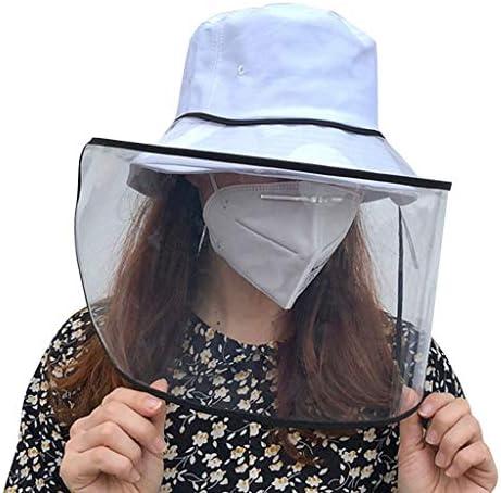 ハット 粉塵 飛沫防止 ウイルス対策 漁師帽 防護取り外可 無地帽子 花粉症対策 防塵 レインバイザー フェイスカバー つば広ハット 透明タイプ 漁夫帽 日除け帽子 (ホワイト)