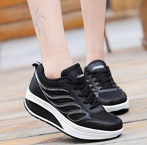 Fall Sneakers Tamaño Round Flat Para Negro Pu color Comfort De Gris Mujer Spring 39 Negro Toe Heel Zapatos Blanco T0YInz4