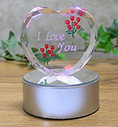 I Love You Gift - Etched Glass Heart on LED Base - LED Light up Heart - Valentine\'s Day Decoration - Sweetheart, Wife, Husband, Boyfriend, Girlfriend