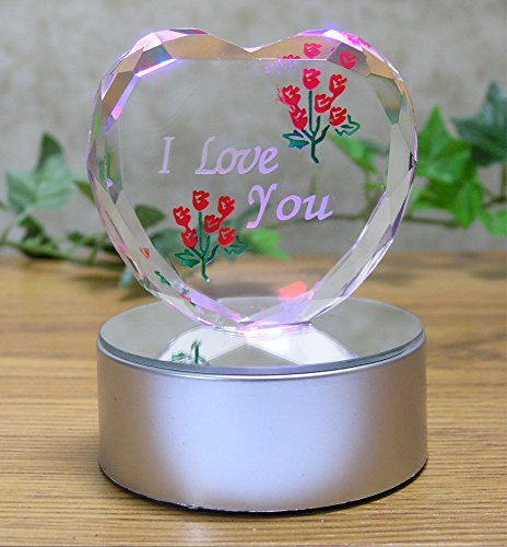 I Love You Gift - Etched Glass Heart on LED Base - LED Light up Heart - Valentine's Day Decoration - Sweetheart, Wife, Husband, Boyfriend, Girlfriend