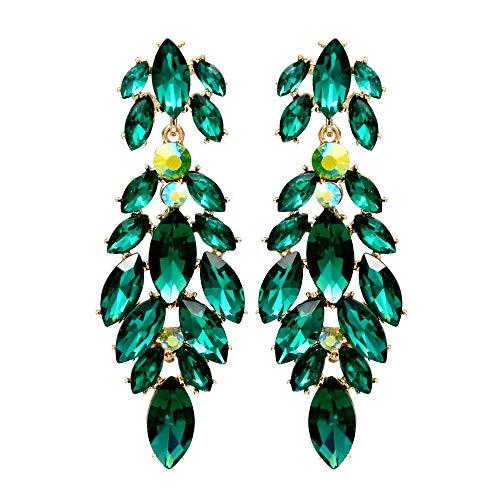 Iris Island Austrian Crystal Rhinestone Green Dangle Earrings for Proms Wedding Party