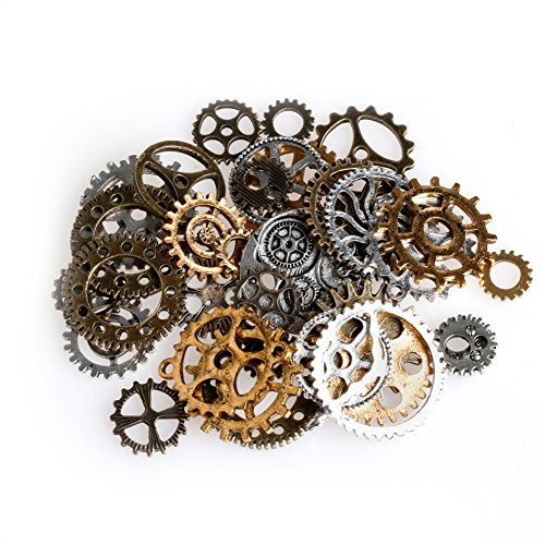 MEXUD-Vintage Charms Gear Pendant Mix Alloy Mechanical Steampunk Cogs ForBracelets Necklace DIY Metal Jewelry (Steampunk Costume Tutorial)