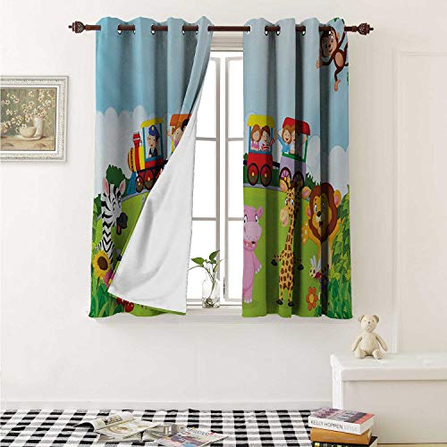 - shenglv Cartoon Customized Curtains Kids Nursery Design Happy Children on a Choo Choo Train with Safari Animals Artwork Curtains for Kitchen Windows W63 x L45 Inch Multicolor
