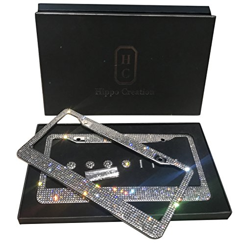 2 Pack Luxury Handcrafted Bling White Rhinestone Premium Stainless Steel License Plate Frame with Gift Box | 1000+ pcs Finest 14 Facets SS20 Clear AB Rhinestone Crystal | Anti-Theft Screw Cap