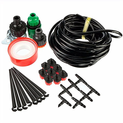 Funnytoday365 Diy Adjustable Size Micro Drip Irrigation System Plant Self Watering Outdoor Garden Hose Kits Tool 8M + 8 Drop Head