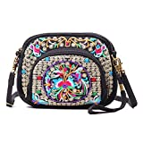 Women Bohemian Embroidered Small Cross-body Bag Cellphone Purse Smartphone Wallet Handbags Wristlet Bag with Adjustable Shoulder Strap(Black + Flower 03)