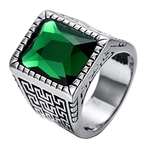 PAURO Men's Stainless Steel Vintage Great Wall Pattern Square Diamond Ring Green Stone Size 13