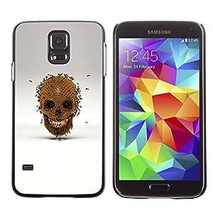 Shell-Star Arte & diseño plástico duro Fundas Cover Cubre Hard Case Cover para SAMSUNG Galaxy S5 V / i9600 / SM-G900F / SM-G900M / SM-G900A / SM-G900T / SM-G900W8 ( Honey Bee Gold Skull Bronze Grey )