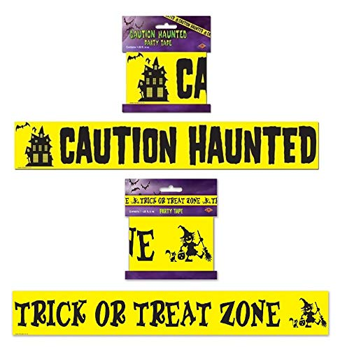 (Halloween Party Tape Décor Bundle   Includes Trick or Treat Zone and Caution Haunted Party)