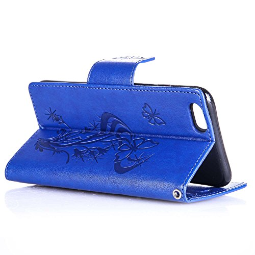 Per Apple iPhone 6 Plus (5,5 Pollici) Custodia ZeWoo® Strass Custodie in PU Pelle Case Cover - L063 / Farfalle (blu)