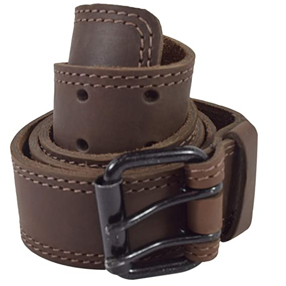 Wide Handmade Includes 101 Year Warranty :: Bourbon Brown 1.5 in. Hide /& Drink Size 34 Two Row Stitch Leather Belt//Rustic Double Prong Buckle,