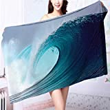 Miki Da Luxury Elegant Bath Towels Tropical Surfing Wave on a Windy Sea Indonesia Sumatra Print Luxury Hotel & Spa Towel L63 x W31.2 INCH