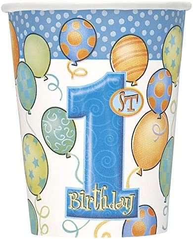 2 Table Cloth and Cups Napkins Serves 16 Loulouben Blue 1st Birthday Blue Number 1 Plates Tableware Bundle Boy Birthday