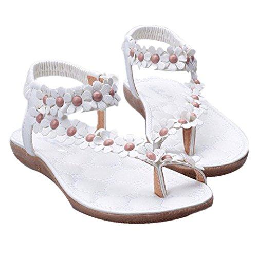 Culater Sandalias mujer planas Verano Bohemia dulce con cuentas clip dedo Zapatos de playa Blanco