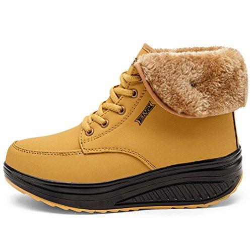 Enllerviid Dames Winter Kunstleer Hoge Top Platform Sneaker Schoenen Bont Gevoerde Katoenen Rijlaarzen Met Veters Geel