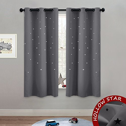 NICETOWN Blackout Star Curtains for Kids - Hollow Out Star S