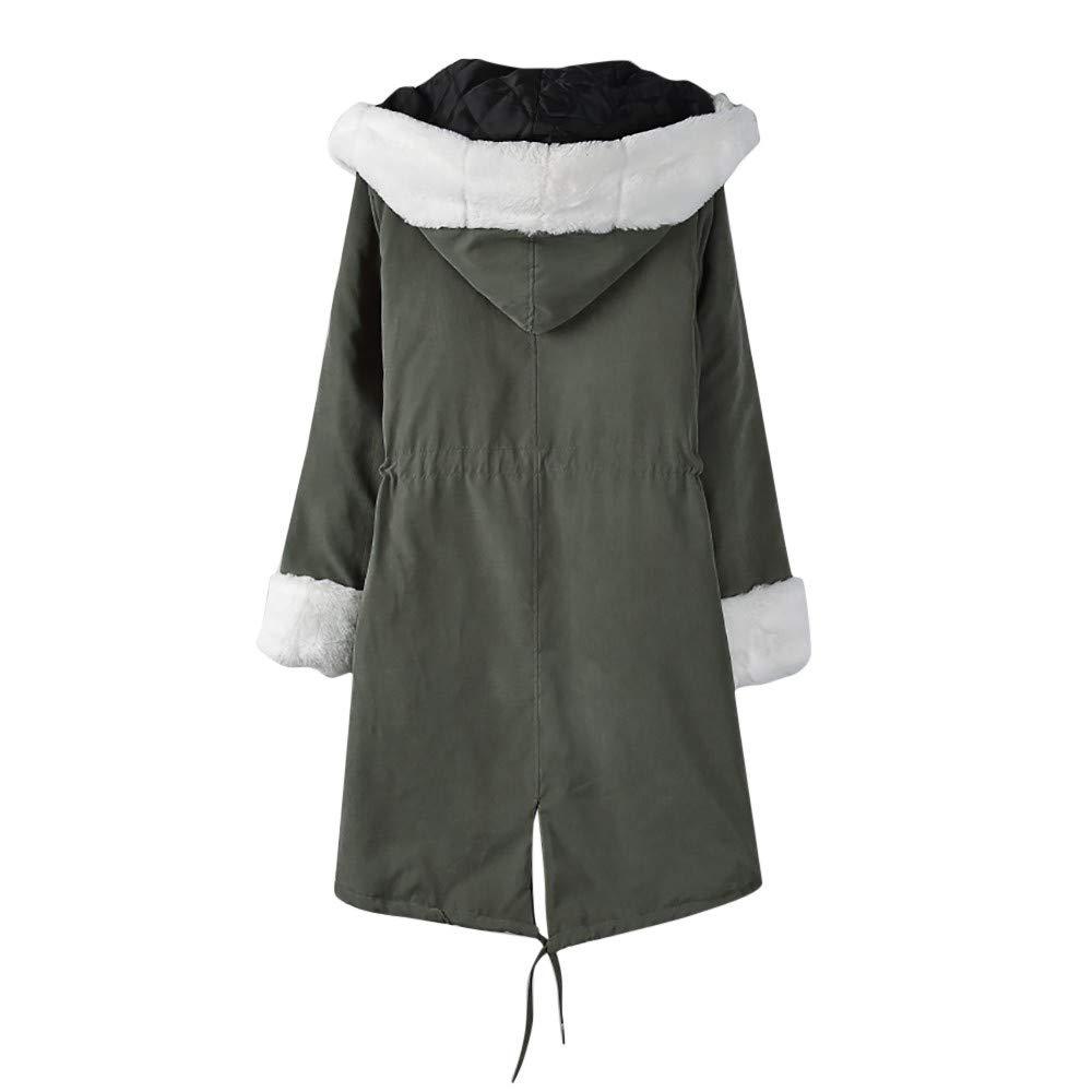 AOJIAN Women Jacket Long Sleeve Outwear Hooded Faux Fur Lace Up Pocket Parka Overcoat Coat Green