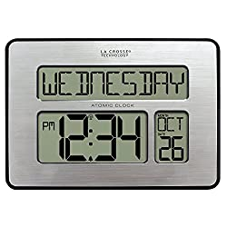 La Crosse Technology 513-1419BLv3-INT Backlight Atomic Full Calendar Clock with Extra Large Digits - Perfect Gift for the Elderly