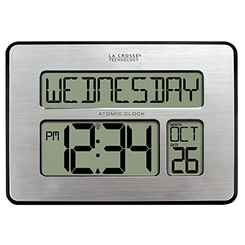 Lacrosse Desk - La Crosse Technology 513-1419BLv3-INT Backlight Atomic Full Calendar Clock with Extra Large Digits - Perfect Gift for the Elderly