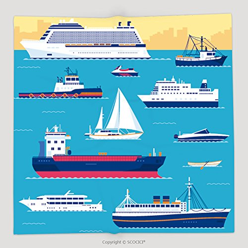 Custom Set Of Flat Yacht Scooter Boat Cargo Ship Steamship Ferry Fishing Boat Tug Bulk Carrier 265141118 Soft Fleece Throw Blanket