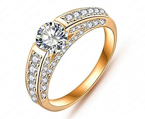 El nuevo oro y diamantes anillo anillos de boda anillos de compromiso para mujer cri0026(6, Amarillo)