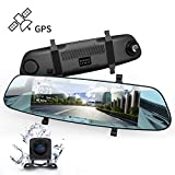 Mirror Dash Cam, DuDuBell 7'' Streaming Media Dual Dash Cam with External GPS, 1080P Front and 720P Rear Camera with Starlight Night Vision, IPS Touch Screen 290°Wide Angle HDR Reverse Assistance