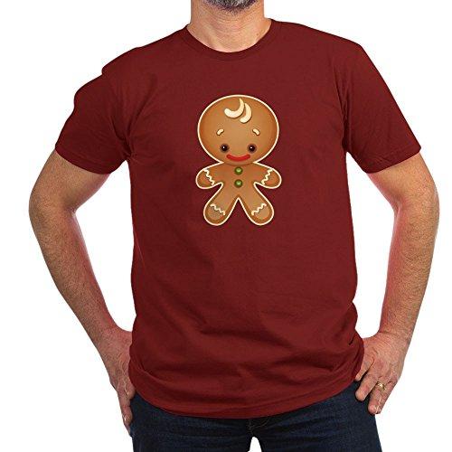 - Truly Teague Men's Fitted T-Shirt (Dark) Chistmas Cuties Gingerbread Man - Cranberry, Medium