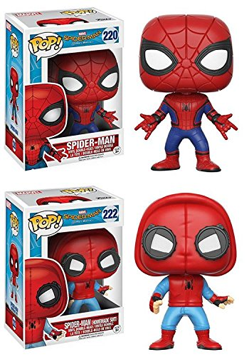 Spider Man New Suit (Funko POP! Spider-Man Homecoming: Spider-Man + Spider-Man (Homemade Suit) - Marvel Vinyl Bobble-Head Figure Set NEW)