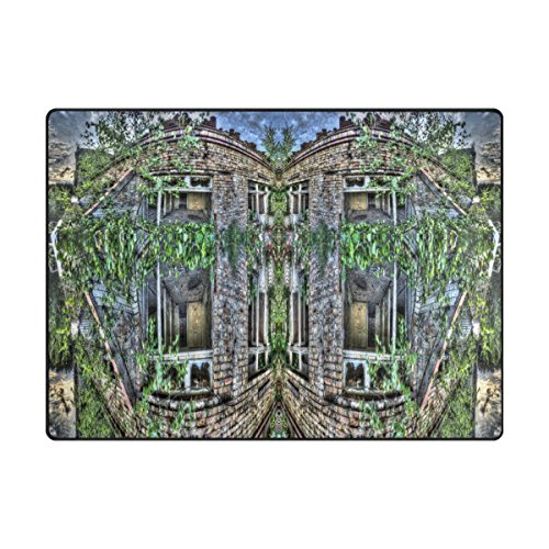 Area Rugs Mansion Hut Jungle Cottage Garden 63x48 Inches Non-Slip Floor Doormats Carpet For Living Room,Bedroom,Hallway by Double - Hut Jungle