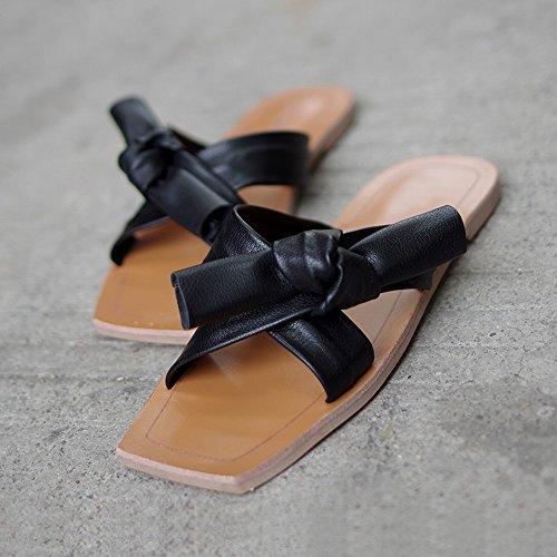 Arco 37 Verano Ocio de Sandalias Suave Zapatillas Femeninas Use Zapatos Playa Planos de Zapatos Perezoso DHG Negro YagX0
