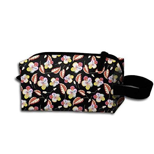 Travel Makeup Bag Folk Custom Floral Leaf Flowers Black Mult