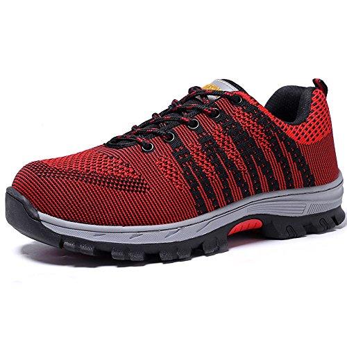 Calzado De Trabajo Antideslizante Eclimb Hombres Athletic Steel Toe Rojo