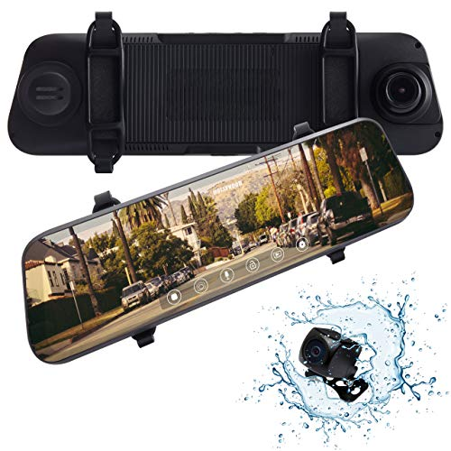Rexing M1 HD Dual Channel Rear View 10 IPS Touch Screen Mirror Dash Cam 1296p + 720p Wide Angle Dashboard Streaming Media Recorder DVR with Rear Camera, G-Sensor, Loop Recording, Backup Camera