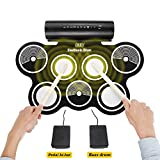Portable Electronic Drum Kit, OLEY Digital Foldable Roll-Up Drum Pad Set Instruments Built in Speaker Headphone USB MIDI Jack with Drum Sticks, Foot Pedals for Practice Starters Kids